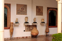 Roman busts mosaics and amphorae in the archeological museum