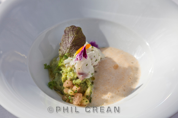 Guacamole and fish starter