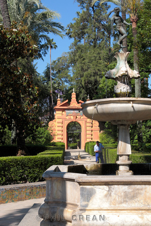 Fountain in the Reales Alcazares gardens Seville